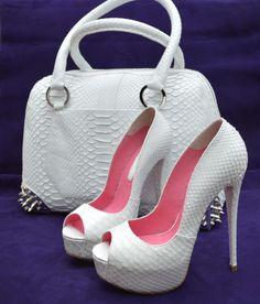 Y.S. White Python Heels | Buy ➜ https://shoespost.com/y-s-white-python-heels-3/