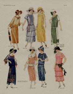 1923 Fashion Page Ad Eight Colorful Sensational Styles   eBay