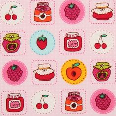 pale pink jelly and fruit fabric by Timeless Treasures USA