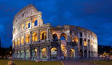 Medieval Wonders -Colosseum, originally the Flavian Amphitheatre in centre of Rome, Italy. Construction began in 72 AD under emperor Vaspasian, completed in 80 AD under Titus. Capable of seating 50,000 spectators, used for gladiatorial contests, etc, later to become a Christian shrine. 2of12