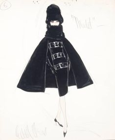 """EDITH HEAD SKETCH FROM """"A NEW KIND OF LOVE"""", 1963"""