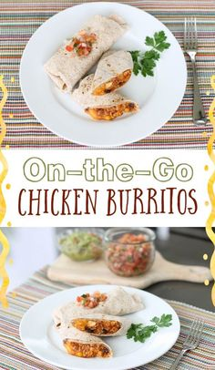 These simple, individual chicken burritos make for a filling, healthy, and satisfying lunch or dinner anywhere and anytime. #freezermeal #realfood