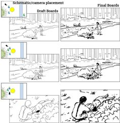 Storyboarding process for a sequence. 1) Schematic with camera placement and scene design, 2) Draft boards, 3) Final boards. Storyboards by storyboard artist Cuong Huynh. Got A Script? I'll Storyboard It.