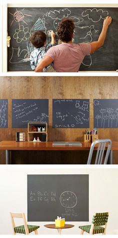 Chalkboard Removable Wall Decals  ::  4 chalkboard panels and chalk.    Can be removed, reused and repositioned ( https://opensky.com/p/alt?osky_rdrct=juliemorgenstern%2Fproduct%2Fchalkboard-panels_origin=hellosociety_source=type129 )
