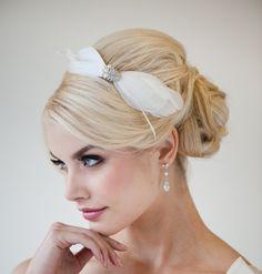 Bridal Headband, Feather Headband. Fascinator, Ivory Crystal Headband
