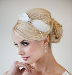 Bridal Headband, Feather Headband. Fascinator, Ivory Crystal Headband