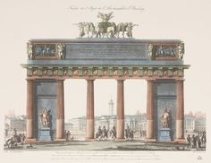 "Triumphal Arch. Series of 2, Hand Colored, 13 x 16"". Please call 212-838-5488 for more information and to purchase."