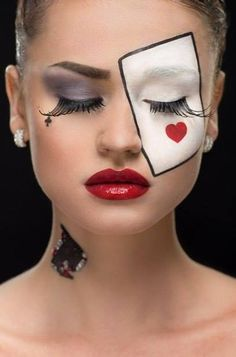 Trendy makeup ideas halloween scary make up Clown Makeup, Costume Makeup, Eye Makeup, Alice In Wonderland Makeup, Wonderland Costumes, Queen Of Hearts Makeup, Queen Of Hearts Costume, Halloween Makeup Witch, Maquillaje Halloween