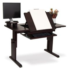 The very first desk made for video and web-based art! This fantastic all wood desk features a large × surface area for spreading out supplies and an adjustable dr Studio Desk, Studio Furniture, Drawing Desk, Drawing Board, Discount Art Supplies, Art Desk, Wood Desk, Art Studios, My Room