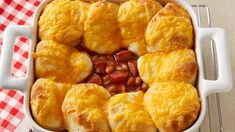 The whole family will love this bubbly casserole of hot dog slices and baked beans topped with biscuit rounds.