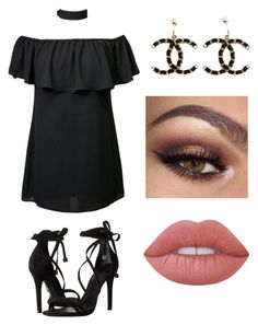 """""""Black Goddess"""" by valeriethefashionlover on Polyvore featuring Schutz, Chanel and Lime Crime"""
