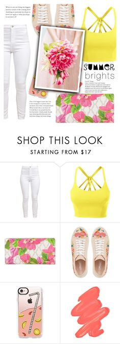 """""""#420 Lemonade"""" by mayblooms ❤ liked on Polyvore featuring LE3NO, Kate Spade, Casetify, Obsessive Compulsive Cosmetics and whitedenim"""
