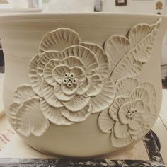 A floral planter in the works!! by backbaypottery