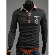 16.14$  Watch now - http://dif4n.justgood.pw/go.php?t=118467309 - Fashion Pocket Design Plaid Splicing Shirt Collar Long Sleeve Slimming Men's Polyester Polo Shirt