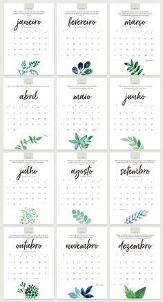 Calendário 2018 - designed by Sandra H. Free Printable Calender, Calendar Pages, Diy Agenda, Bullet Journal School, Bullet Journal Aesthetic, Floral Printables, Planners, Calendar Design, Note Paper