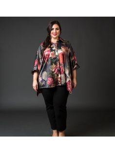 29cf270d2cff5 Floral Charmeuse Double Faced Cape Blouse- Green by Love by Yona. This  lovely floral plus size ...