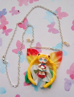 Sailor Moon handmade necklace with polymer clay by Akindoonline