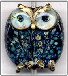 Black Raku Owl XLIX Focal Handmade Glass Lampwork Bead Handmade SRA W79 :) ♥♥♥