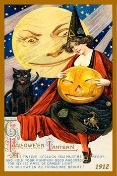 Quilt Block of vintage 1912 postcard by the American Art Nouveau artist Samuel L. Schmucker printed on cotton. Halloween Set 2. Ready to sew. Single 4x6 quilt block $4.95. Set of 4 quilt blocks with pattern $17.95.