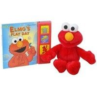 Elmo's Play Day Book/Plush: Join Elmo for a fun-filled play day! This interactive set includes a colorful Play-a-Sound® book featuring Elmo and all his friends, and a matching, cuddly Elmo plush.