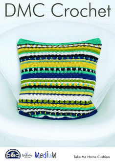 The DMC Natura Crochet Take Me Home Cushion will add a lovely touch to your home. Get stitching to create the lovely design for yourself, or gift it to a loved one for a special surprise.  The pattern helps you crochet a stunning patterned cushion that will come to approximately 40 x 40 cm when finished.