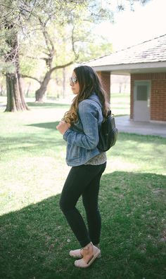 black paige denim, denim jacket, leather backpack, aviators, summer style