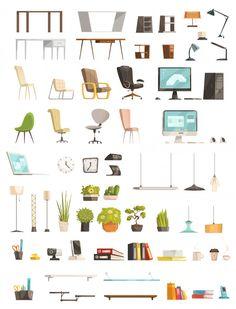 Modern office furniture organizers and accessories Vector | Free Download
