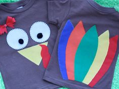 Thanksgiving Turkey Shirt for Girl with Front & by TwoSisterBugs, $20.00
