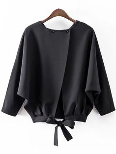 Black Batwing Sleeve Bow Split Blouse.