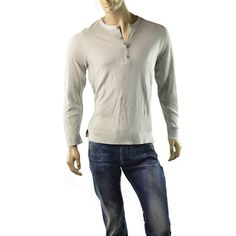 Armani Exchange Sweater Mens A/X Sheer Henley Size L Jumper Shirts NEW Gray #ArmaniExchange #Crewneck | http://www.ebay.com/sme/imagestudio714/Save-10-for-every-100-you-spend/so.html?_soffid=5001623600&_sid=2054254