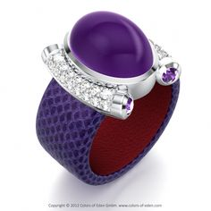 Round Diamonds, Round Amethysts, Oval Amethyst cabochon in Aqualino Purple Leather and Platinum - Premiere Ring