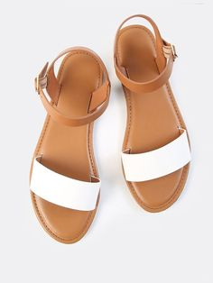 Romwe Two Tone PU Open Toe SandalsUS10