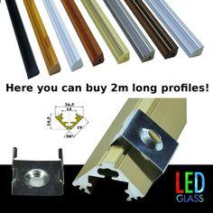 1m, 2m, Aluminium corner profile for LED strips striplight covers end caps clips