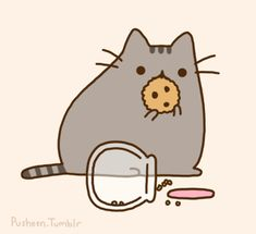 Pusheen eating a cookie or several hehe.