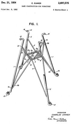Modernica's Eiffel Chair Base Design by Charles Eames. This is the drawing for the patent that Charles Eames submitted in 1952 and was approved for in 1954 for the Eiffel base design Charles & Ray Eames, Modern Furniture, Furniture Design, Danish Furniture, Eiffel Chair, Patent Drawing, Eames Chairs, Technical Drawing, Chair Design
