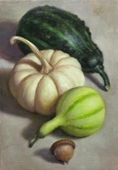 "Daily Paintworks - ""Autumn Gourds and Acorn"" by Debra Becks Cooper"