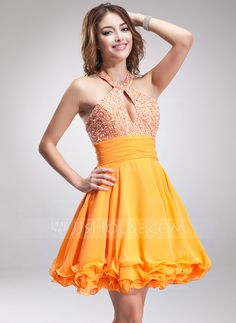 Homecoming Dresses - $128.99 - A-Line/Princess Halter Short/Mini Chiffon Homecoming Dress With Ruffle Beading (022010019) http://jjshouse.com/A-Line-Princess-Halter-Short-Mini-Chiffon-Homecoming-Dress-With-Ruffle-Beading-022010019-g10019