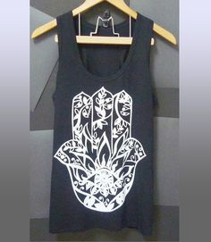 8b72c0ee4c4b9 Hamsa tank top Racerback tops Cotton tee graphic handprint  Black shirt  Hindu print size S M L XL summer top  singlet  tshirt
