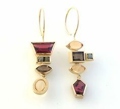 janis kerman jewelry | Earrings | Janis Kerman. 18kt., rhodalite ... | Art Jewelry/Earrings