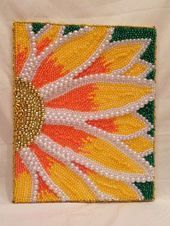 """Items similar to Fully Beaded Hanging Canvas - """"Pretty Flower"""" - Awesome and Unique Piece! Ready to Hang! on Etsy Button Art, Button Crafts, Creative Crafts, Creative Art, Bead Crafts, Arts And Crafts, Seed Bead Art, Mardi Gras Beads, Beads Pictures"""