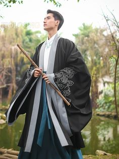 Ancient china clothing Traditional chinese Men Hanfu Cloak Umhang traditionelle Männer Hanfu K Chinese Clothing Traditional, Traditional Kimono, Traditional Fashion, Traditional Outfits, Outfit Essentials, Hanfu, China Mode, Ancient China Clothing, Male Kimono