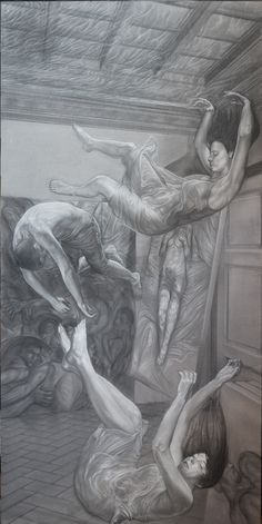 """""""Mythica monstra et vanae spes"""" right panel pencil and white conté on paper cm 100x200"""