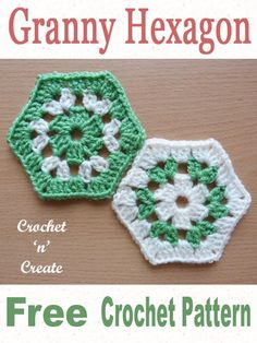 Granny hexagon, free crochet pattern on join together a few to make most home projects, Click and scroll down the page for the pattern. Hexagon Crochet Pattern, Crochet Blocks, Crochet Squares, Crochet Granny, Crochet Stitches, Crochet Baby, Crochet Patterns, Granny Squares, Crochet Ideas
