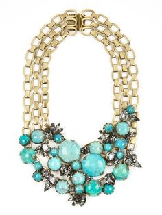 Elizabeth Cole Turquoise & Crystal Multi-Chain Necklace