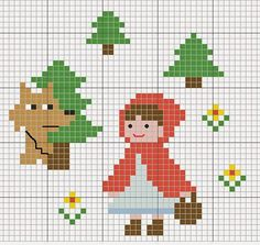 little red riding hood cross stitch pattern [ cappuccetto rosso punto croce ] Cross Stitch For Kids, Cross Stitch Baby, Cross Stitch Animals, Cross Stitch Charts, Cross Stitch Patterns, Cross Stitching, Cross Stitch Embroidery, Hand Embroidery, Beading Patterns