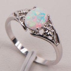 Белый Огненный Опал Австралии Стерлингового Серебра 925 Женщины Ювелирные Изделия Кольца Размер 6 7 8 9 10 11 F579