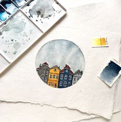 Watercolor painting watercolor town house / artwork - Aquarellmalerei ☀️ Aquarell Stadthaus / Kunstwerk – … Watercolor painting ☀️ watercolor town house / artwork – Source by -