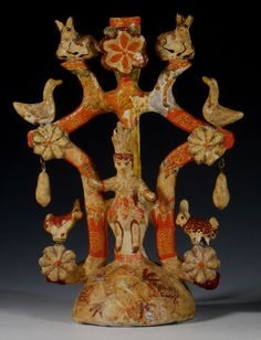 """Tree of Life"" attr: Heriberto Castillo    Izucar de Matamoros, Mexico  Cold painted ceramic  Circa 1975  H. 12 inches (James Caswell Historia)"