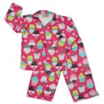 Flannel cupcake girls pjs, available at http://gardeningbear.com/wp/shop/pajama-set-for-girls-toddlerskids/