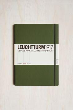 Leuchtturm1917 - Slim Master Notebook - Plain - A4+ (22x31cm) - Hard Cover - Army Green It's Going Down, Shades Of Green, Army Green, Workplace, Cover, Card Holder, Dots, A4, Slim